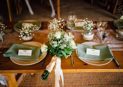 DIY tipi garden wedding place settings taken by Parrot & Pineapple Wedding Photography