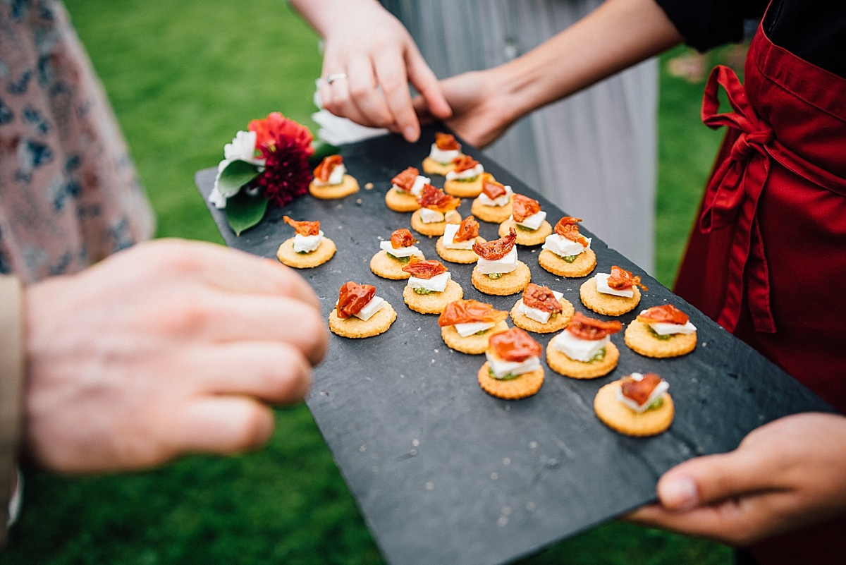 fun wedding photography vegetarian canapes at garden wedding