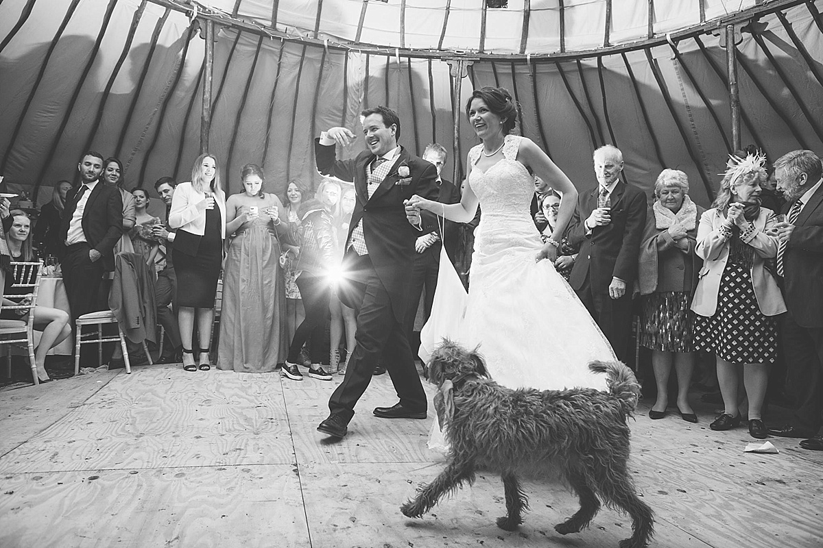 dog friendly wedding photographer bride groom dance dog