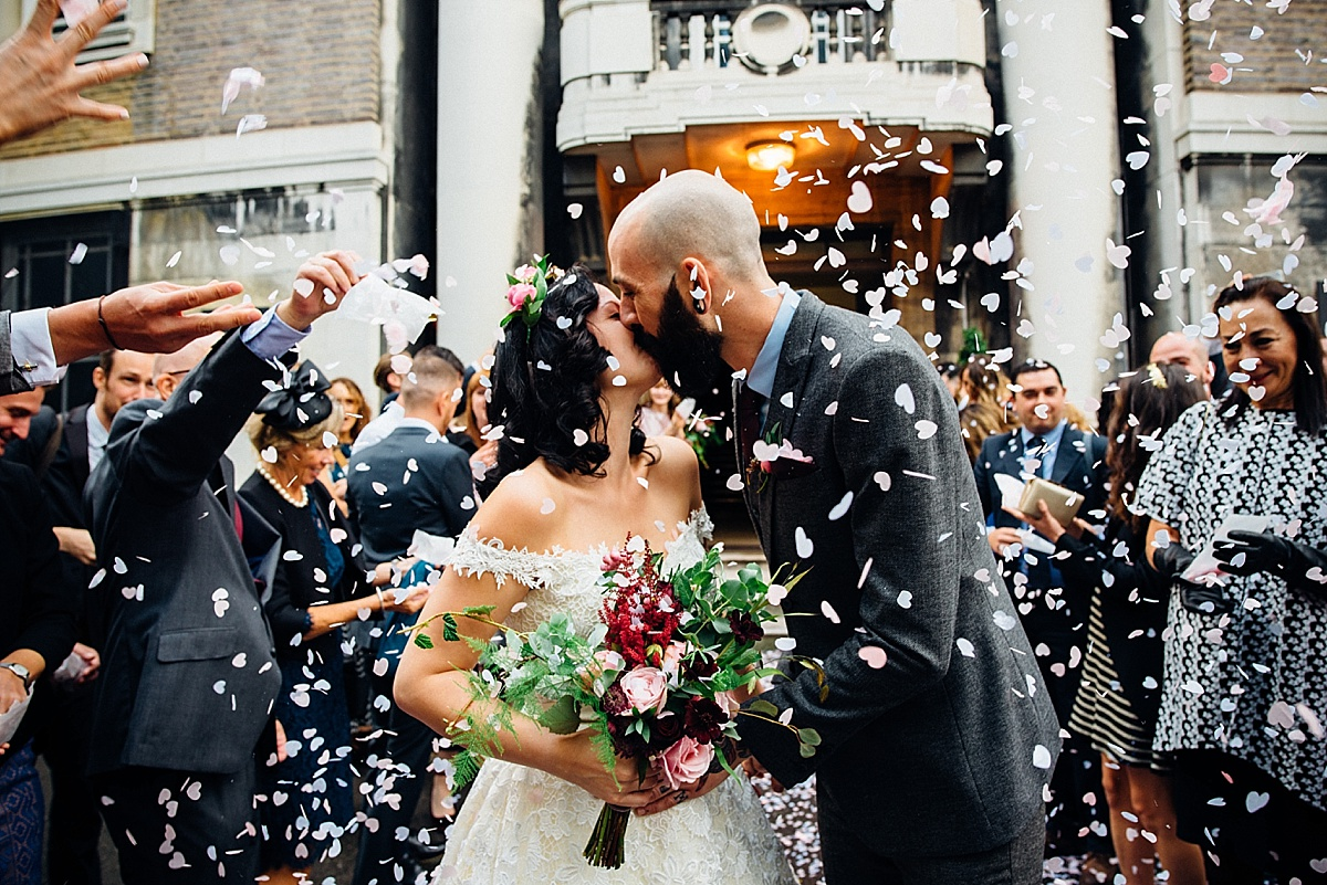 london pub wedding confetti kiss stokey town hall