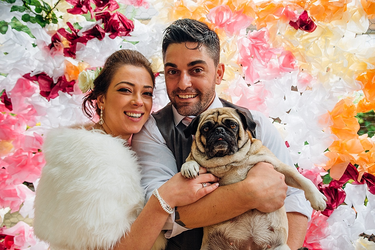 dog friendly wedding photographer bride groom pug dog