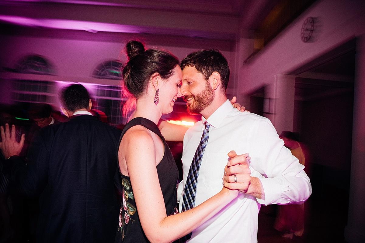 fun wedding party couple slow dance wedding