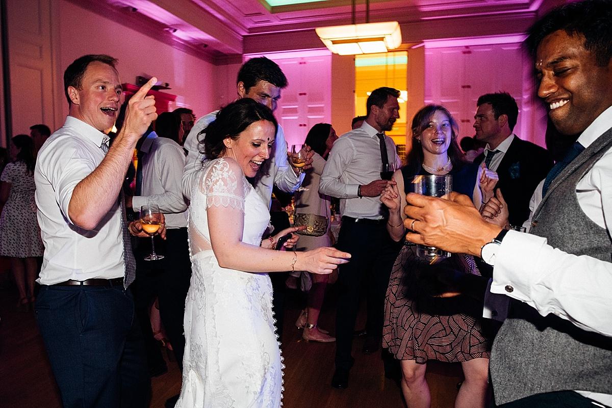 fun wedding party wedding guests bride dancing