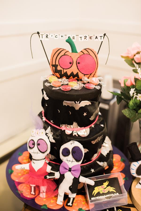 Fun wedding photographer Birmingham Halloween wedding cake