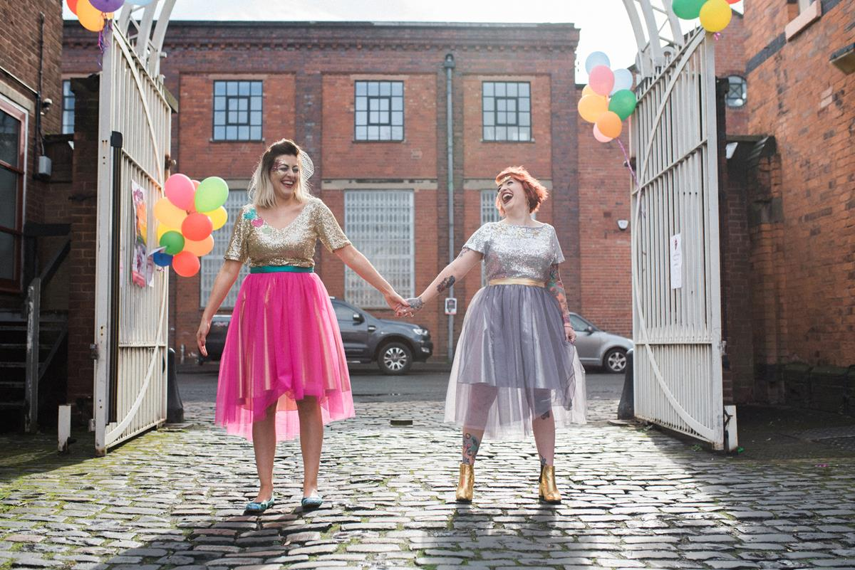 Fun wedding photographer Birmingham alternative bridesmaid dress