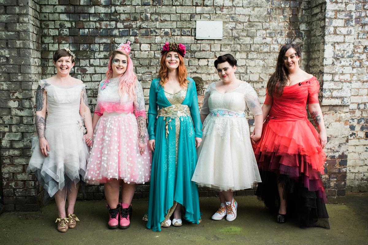 Fun wedding photographer Birmingham alternative wedding dresses