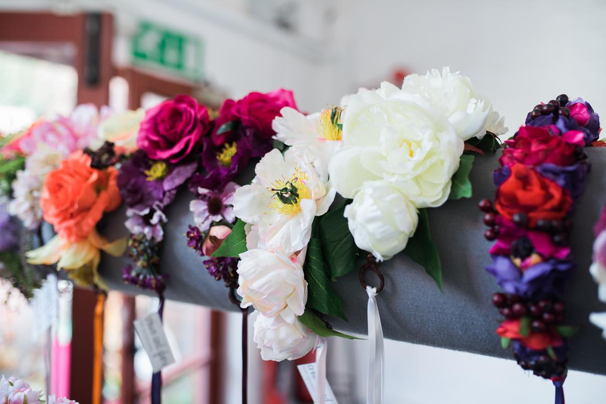 Fun wedding photographer Birmingham floral headbands