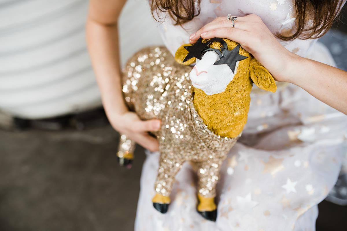 Fun wedding photographer Birmingham glittery sheep