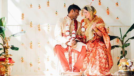 Hindu bride and groom at Hackney Town hall wedding
