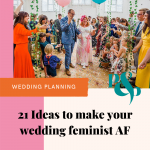 Pinterest graphic showing bride and groom showered in confetti with text reading 21 ideas to make your wedding feminist AF