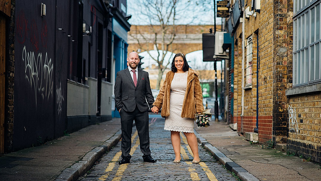 Bride and Groom in London street before reception - London elopement wedding