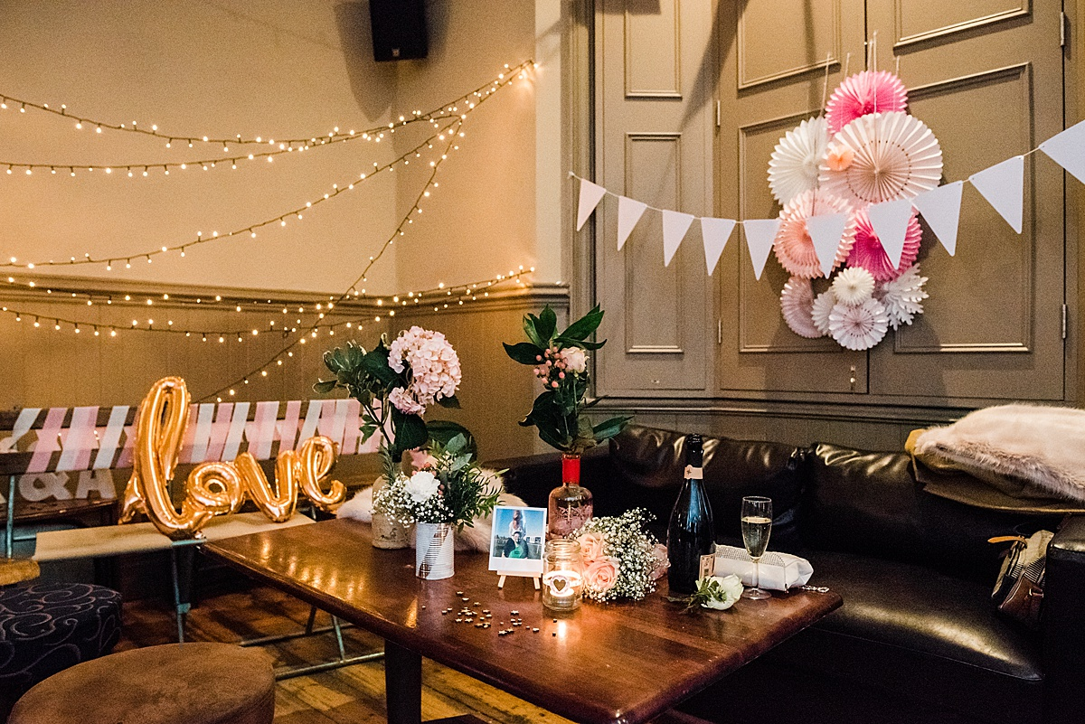 Wedding decorations at The Birds pub wedding in Leytonstone - Photo taken by Parrot and Pineapple Wedding Photography