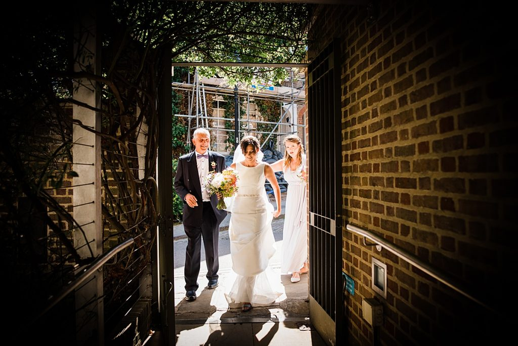 Bride's arrival at Burgh House, Hampstead