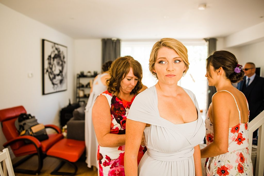 Bridemaids getting ready in their Marks and Spencers gowns