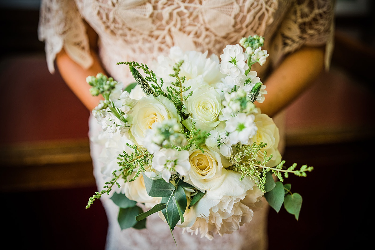 White and green wedding bouquet - Islington town hall wedding - Parrot and Pineapple photography