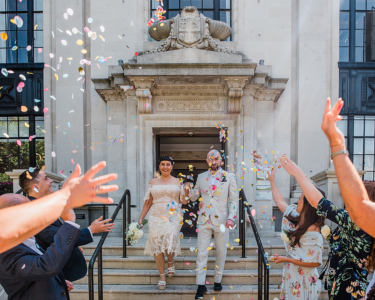 Confetti outside - Islington town hall wedding - Parrot and Pineapple photography