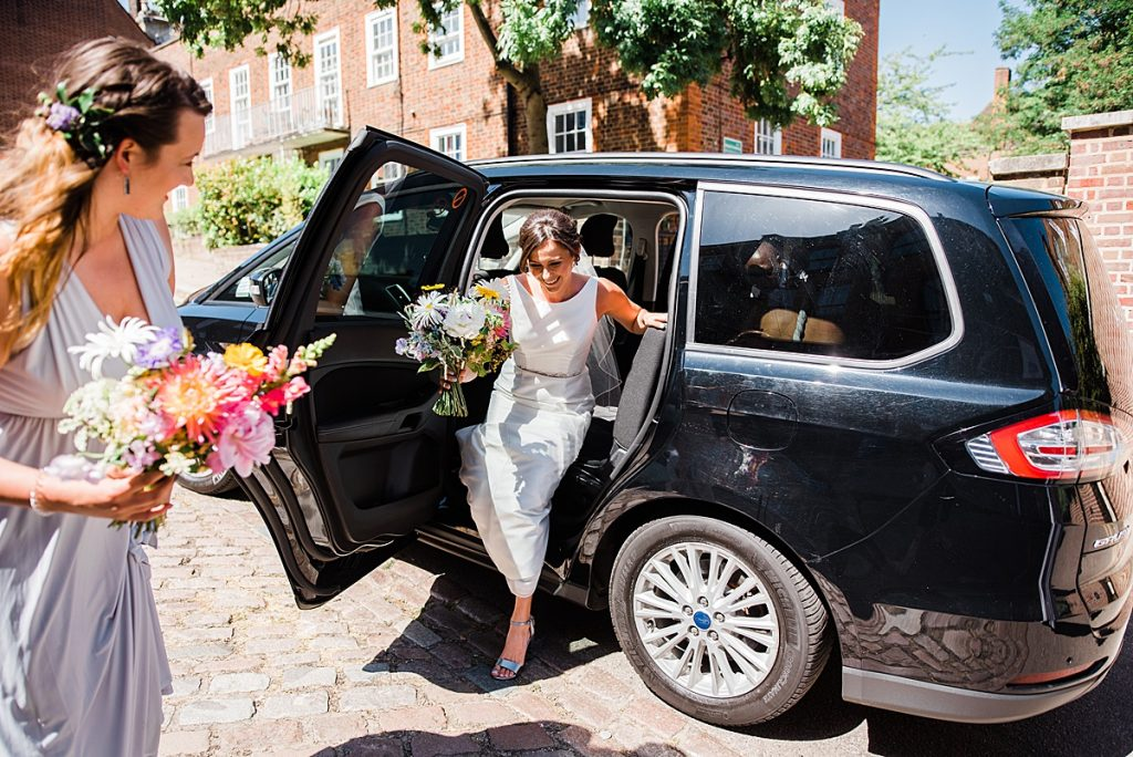 Jade arrives in her London cab for the wedding ceremony at Burgh House