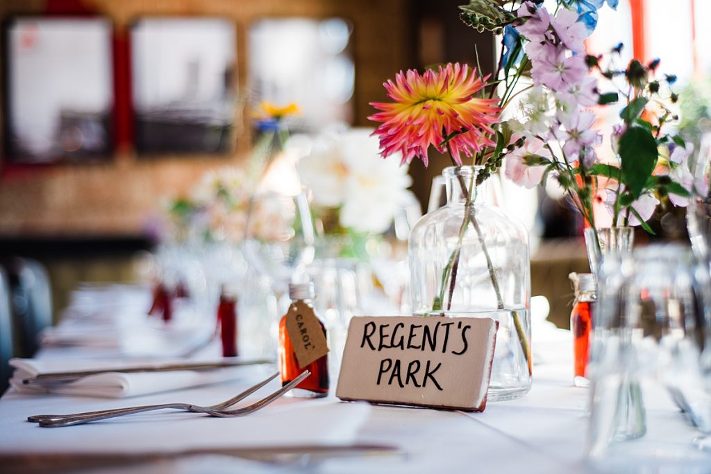 Regents Park table names at the Gipsy Queen pub wedding