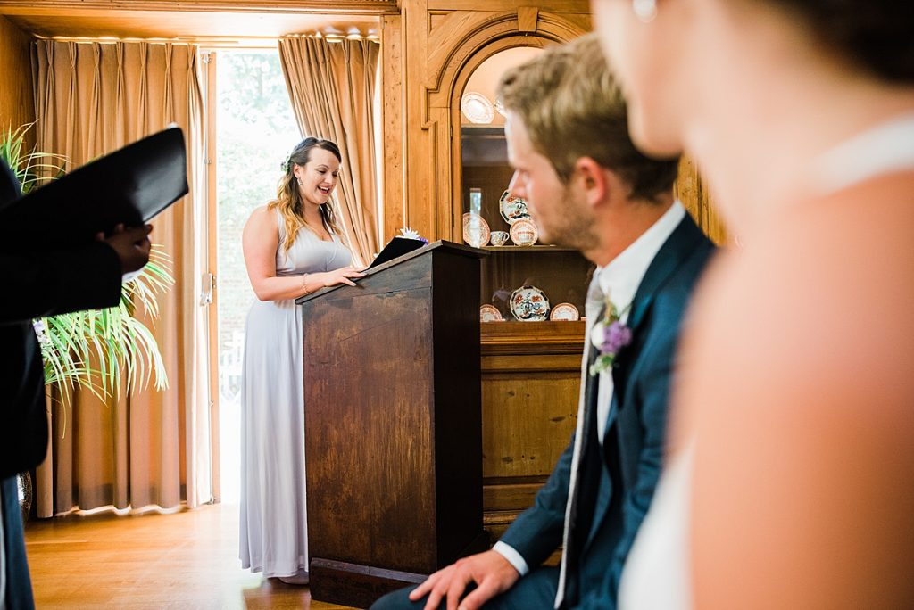 Bridesmaid doing a reading at the reception