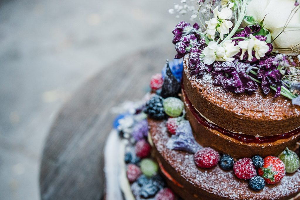 Fruits and Floral Naked Victoria sponge wedding cake