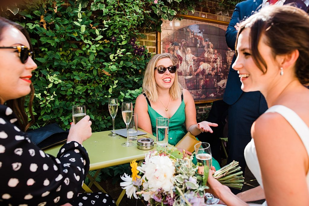 Wedding Guests enjoying the pub garden at the Gipsy Queen Pub