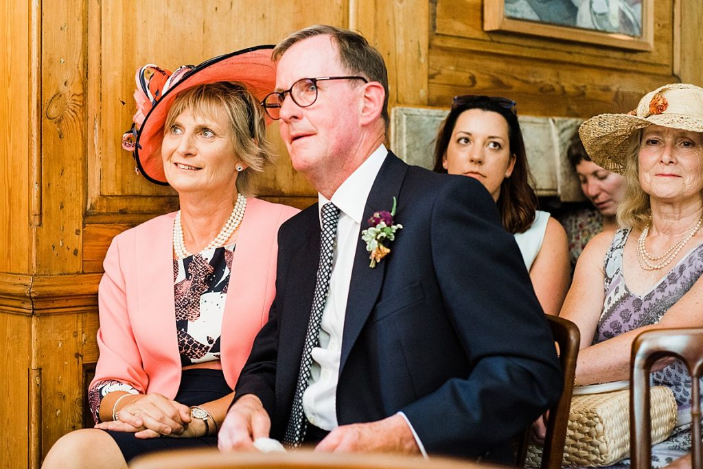 Parents of the Groom watching the wedding ceremony at Burgh House