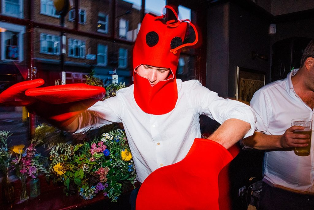 Nick in full lobster dress up at the gipsy queen pub wedding reception