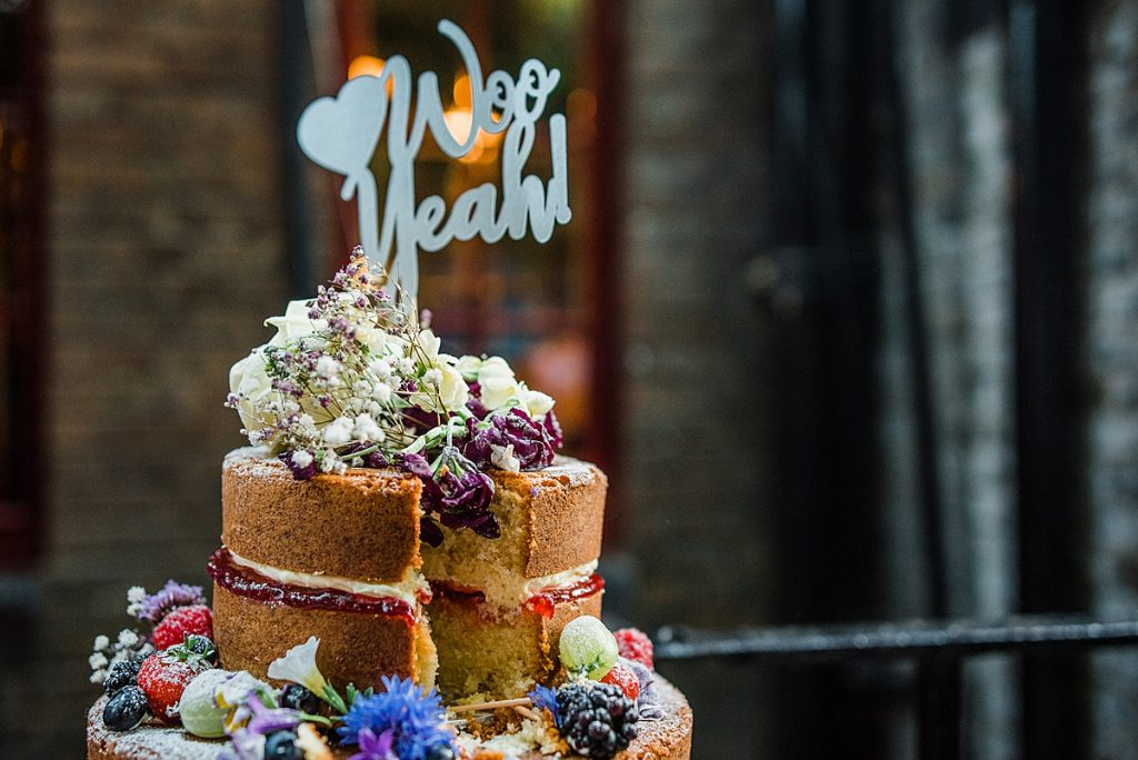 The Naked Victoria sponge Fruit and Floral wedding cake