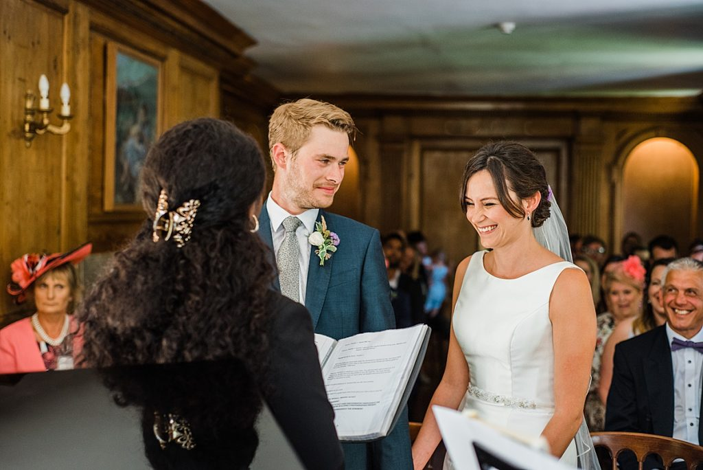 Jade and Nick during the ceremony at Burgh House