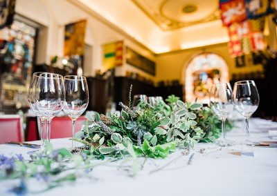 Greenery wedding decorations at a London City Wedding. Image by Parrot & Pineapple.