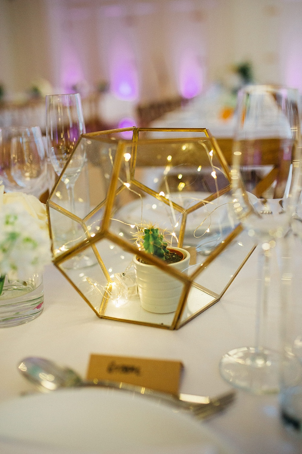 Terrarium centre piece at hackney town hall wedding