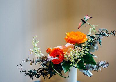Sugar flowers on a wedding cake for hackney town hall wedding