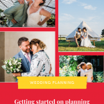 Pinterest graphic showing a collage of wedding photos and text reading getting started with planning your wedding in 6 easy steps'