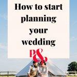 Pinterest image showing a bride and groom sitting outside a tent with a text overlay that reads 'how to start planning your wedding'