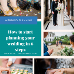 Pinterest graphic of a collage of wedding photos with text reading 'how to start planning your wedding in 6 steps'