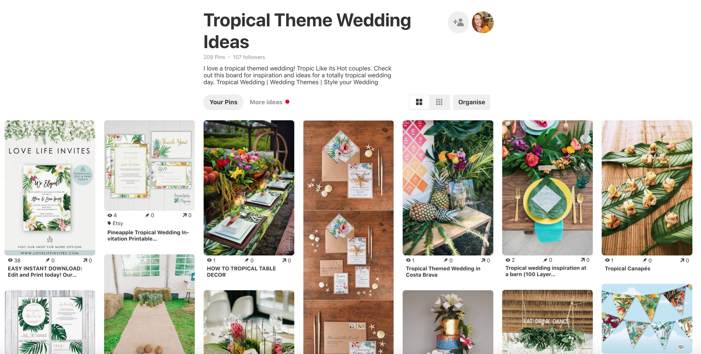 Pinterest board tropical themed wedding ideas from Parrot & Pineapple. How to use pinterest to plan your wedding.
