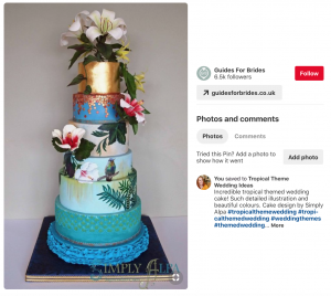 Screen shot of a pinterest pin showing a beautiful tropical themed cake - How to use pinterest to plan your wedding