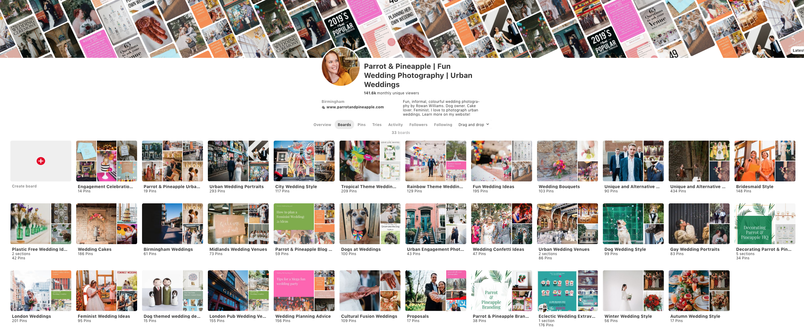 The Parrot and Pineapple pinterest account. How to use Pinterest to plan your wedding.