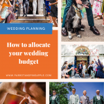 Collection of 5 wedding photos and some text that reads 'How to allocate your wedding budget'