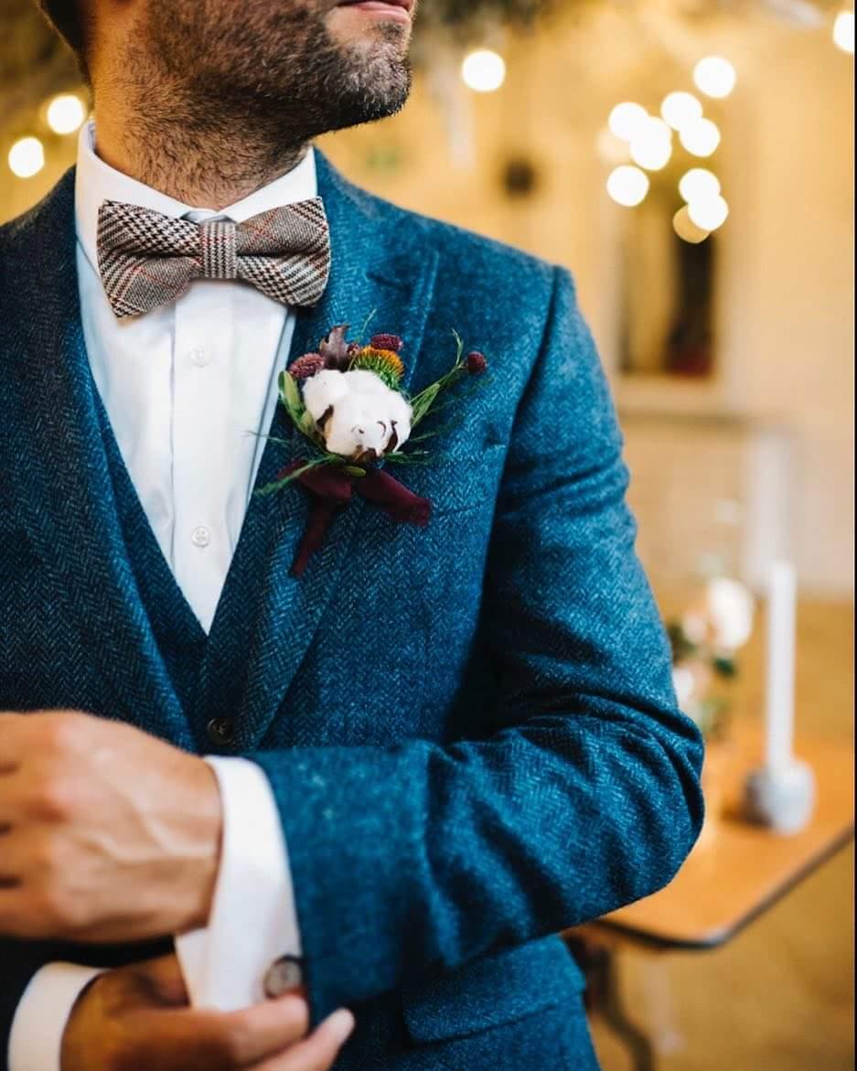 Navy tweed wedding suit from Bridgewater Menswear.