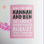 Save the Date Invite with pink background from Harriett and Joel Wedding Stationers