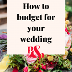 "Brightly coloured wedding bouquet with a text overlay that reads ""How to budget for your wedding'"