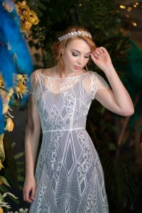 Modern bridal style - lace wedding dress with coloured slip from Lucy Can't Dance.