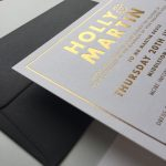 Wedding Invitation with gold embossed lettering in bold from Lucky Ink Wedding Stationers