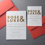 Wedding Invites with bride and groom names in gold and bold from Lucky Ink Wedding Stationers