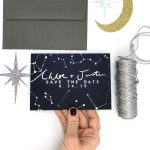 Wedding Invite with Couple's Name and star constellations Rachel Emma Studio Wedding Stationers