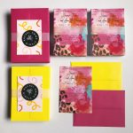 Bold, feather and leopard invite design from Rachel Emma Studio Wedding Stationers