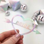 Bride Word Cut Out in Rainbow Metallic from Rachel Emma Studio Wedding Stationers