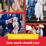 Collection of 4 wedding photos and some text that reads 'How much should your wedding cost'