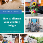 Collage of wedding photos and text that reads 'How to allocate your wedding budget'